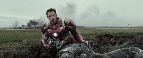 Film News - Captain America Civil War - Robert Downey Jr as Iron Man and Don Cheadle as War Machine