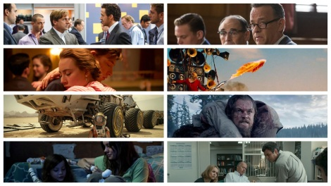 Film News - Oscars 2016 - Nominations for Best Picture include The Big Short, Bridge of Spies, Brooklyn, Mad Max Fury Road, The Martian, The Revenant, Room and Spotlight