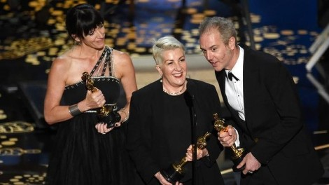 Film News - Oscars 2016 - Elka Wardega, Lesley Vanderwalt and Damian Martin accept the Best Makeup and Hairstyling award for Mad Max Fury Road