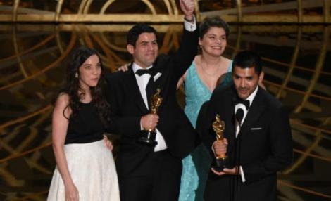 Film News - Oscars 2016 - Gabriel Osorio and Pato Escala Receiving Their Oscars as Bear Story Wins Best Animated Short