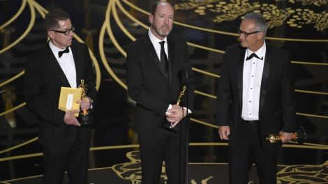 Film News - Oscars 2016 - Gregg Rudloff, Chris Jenkins and Ben Osmo accept the Oscar for best sound mixing for Mad Max Fury Road
