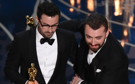 Film News - Oscars 2016 - Singer Sam Smith and Composer Jimmy Napes accept their award for Best Song Writings On The Wall from Spectre