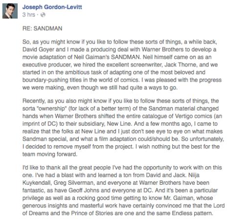 Film News - Sandman - Joseph Gordon-Levitt Explains Reasons For Leaving Project