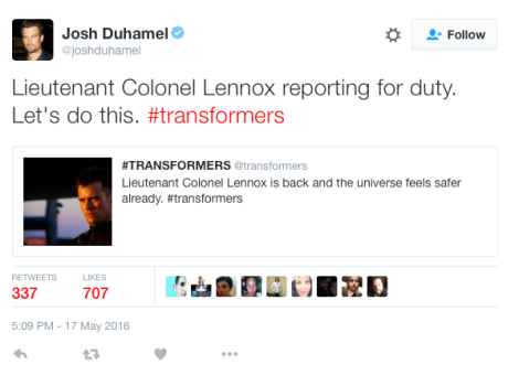 Josh Duhamel Confirms Reprising Role For Transformers The Last Knight on Twitter