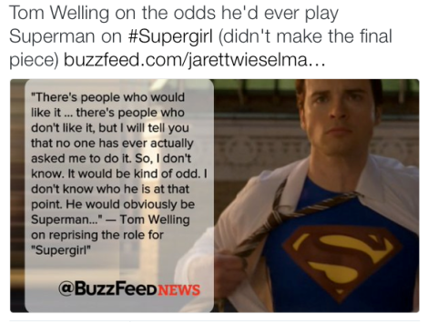 TV News - Tom Welling On Playing Superman in Supergirl