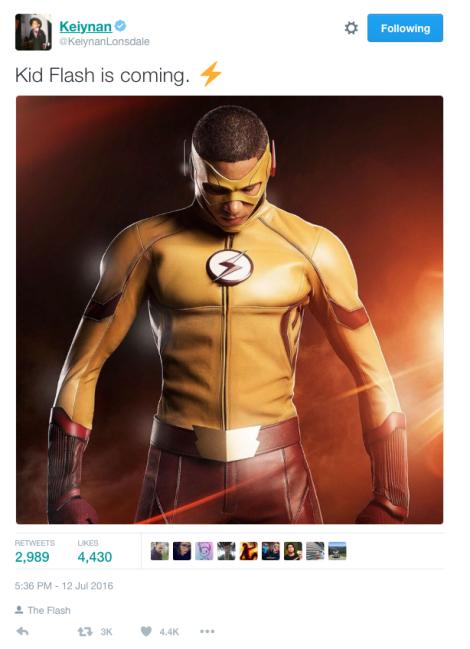 Keiynan Lonsdale Tweet about Kid Flash