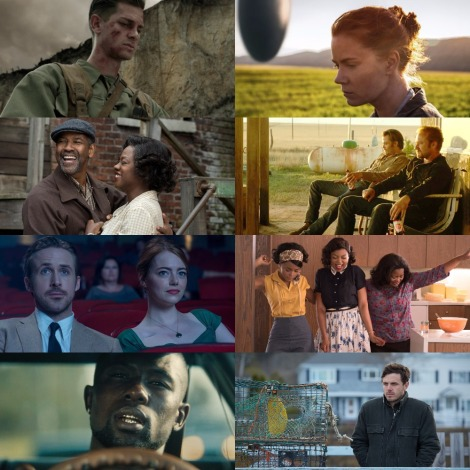 Oscars 2017 - Best Picture - Hacksaw Ridge, Arrival, Fences, Hell or High Water, Hidden Figures, La La Land, Manchester By The Sea and Moonlight
