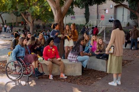 Emily Hopper as Meg, Anjelika Washington as Amaya, Sydney Park as Kiera, Sabrina Haskett as Kaitlynn, Alycia Pascual-Peña as Lucy Josie Totah as CJ, Hadley Robinson as Vivian, Lauren Tsai as Claudia in Moxie.
